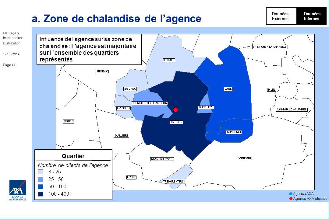 Maillage & Implantations Distribution 17/05/2014 Page 14 a. Zone de chalandise de lagence Données Externes Données Internes Agence AXA Agence AXA étud