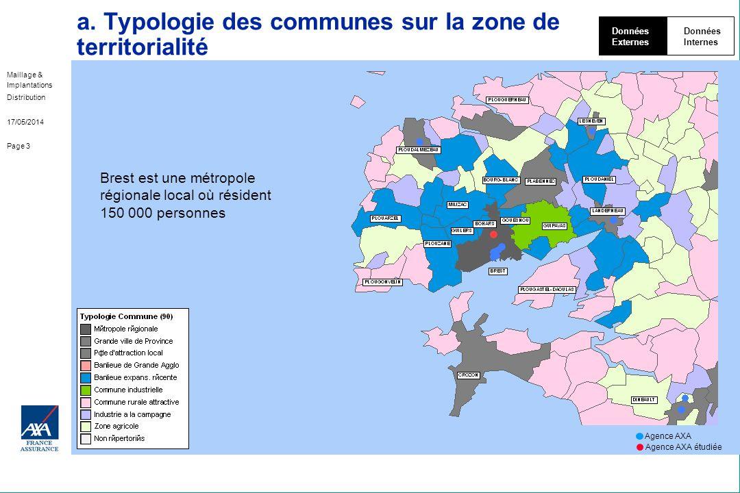 Maillage & Implantations Distribution 17/05/2014 Page 3 a. Typologie des communes sur la zone de territorialité Données Externes Données Internes Bres