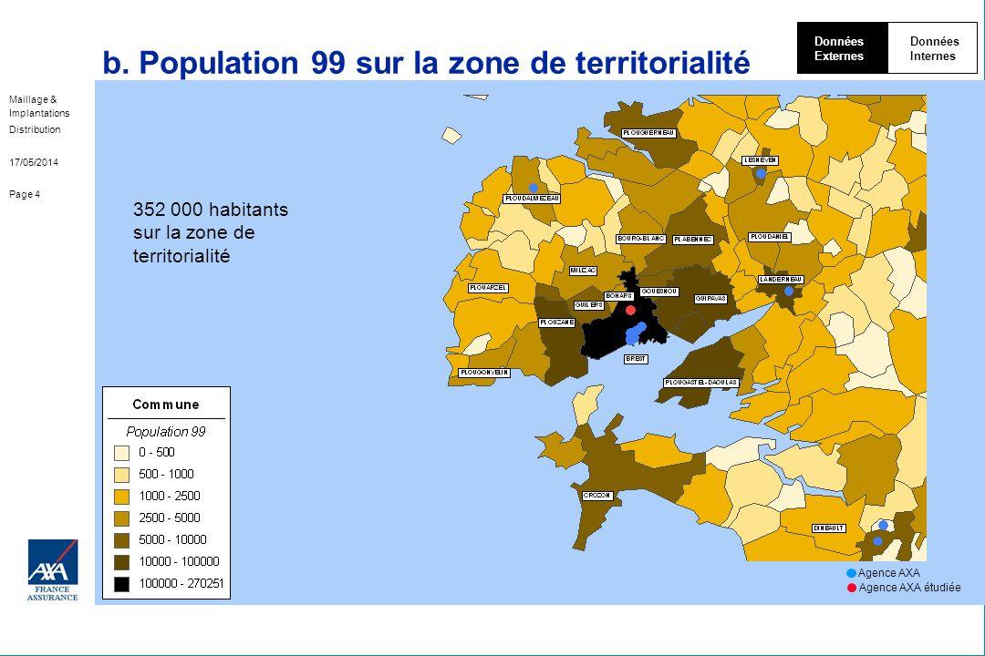 Maillage & Implantations Distribution 17/05/2014 Page 4 b. Population 99 sur la zone de territorialité Données Externes Données Internes 352 000 habit