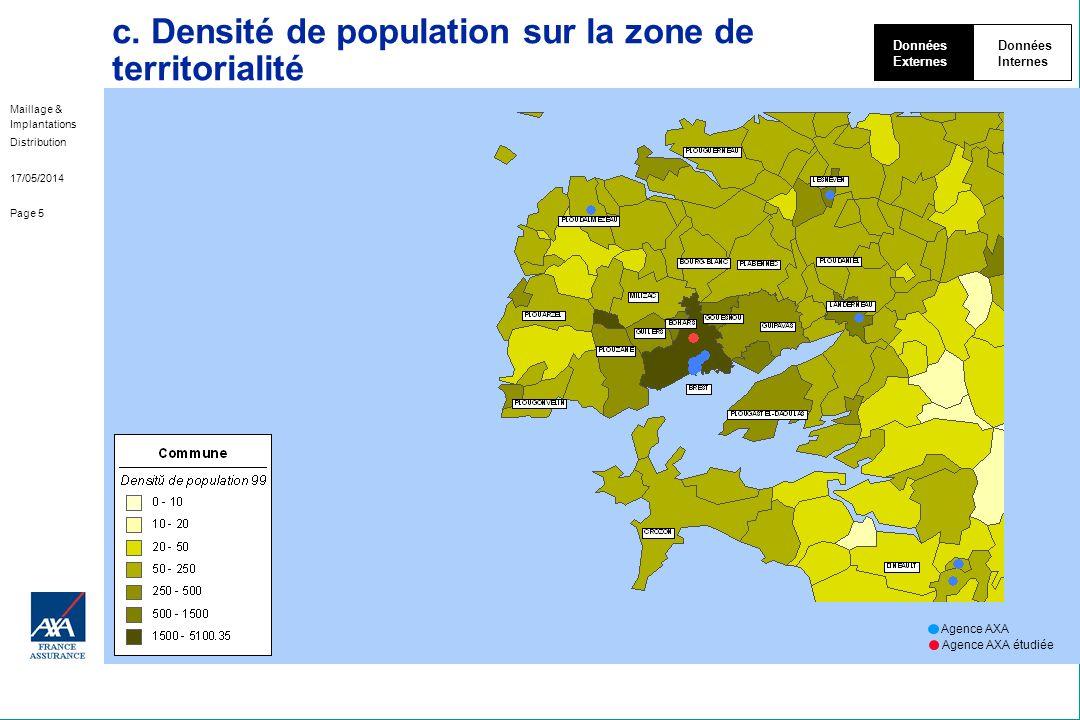 Maillage & Implantations Distribution 17/05/2014 Page 5 c. Densité de population sur la zone de territorialité Données Externes Données Internes Agenc