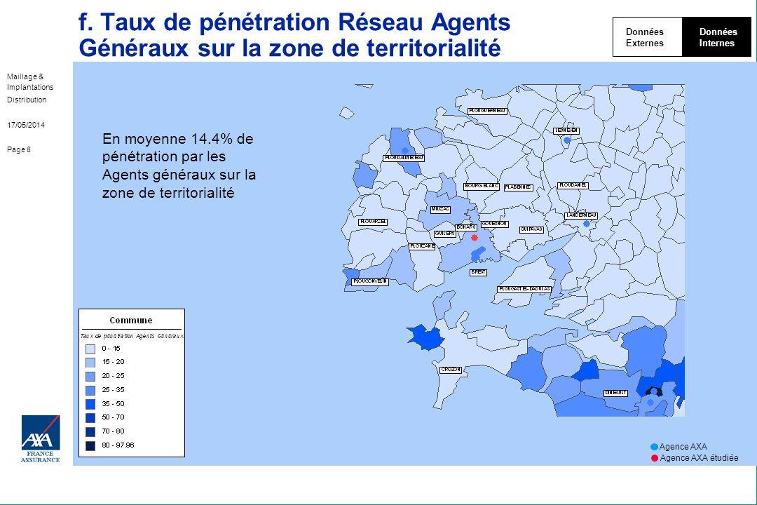 Maillage & Implantations Distribution 17/05/2014 Page 8 f. Taux de pénétration Réseau Agents Généraux sur la zone de territorialité Données Externes D