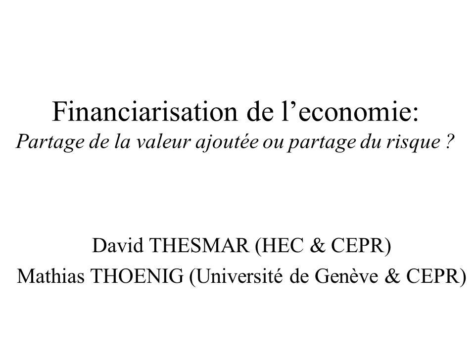 Deux conflits capital-travail Financiarisation: résurgence dans le débat public Deux théories: libéralisation financière => déformation du partage de la VA en faveur des capitalistes - équilibre .