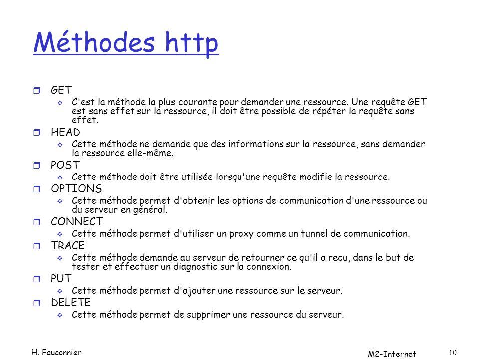M2-Internet 10 Méthodes http r GET C'est la méthode la plus courante pour demander une ressource. Une requête GET est sans effet sur la ressource, il