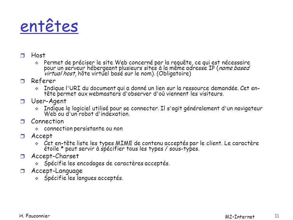 M2-Internet 11 entêtes r Host Permet de préciser le site Web concerné par la requête, ce qui est nécessaire pour un serveur hébergeant plusieurs sites