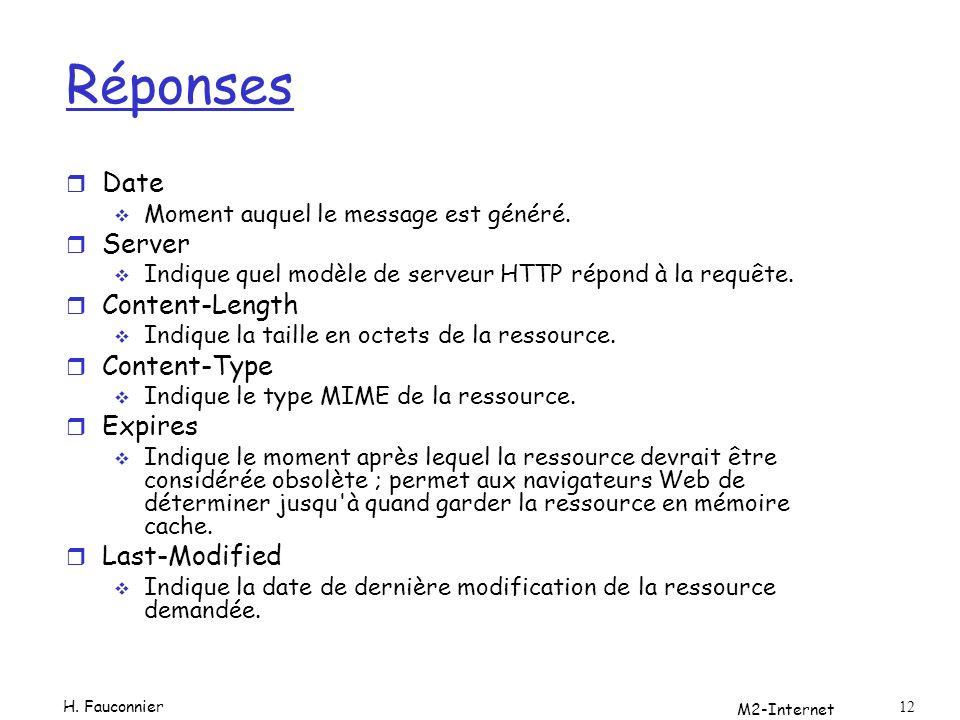 M2-Internet 12 Réponses r Date Moment auquel le message est généré. r Server Indique quel modèle de serveur HTTP répond à la requête. r Content-Length