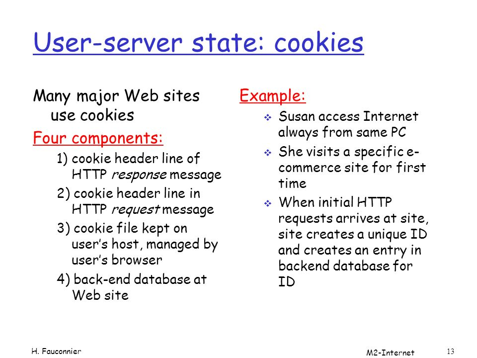 M2-Internet 13 User-server state: cookies Many major Web sites use cookies Four components: 1) cookie header line of HTTP response message 2) cookie header line in HTTP request message 3) cookie file kept on users host, managed by users browser 4) back-end database at Web site Example: Susan access Internet always from same PC She visits a specific e- commerce site for first time When initial HTTP requests arrives at site, site creates a unique ID and creates an entry in backend database for ID H.