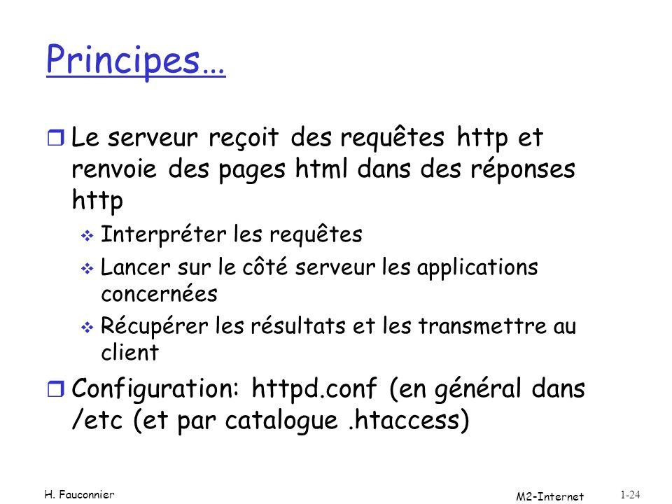 Principes… r Le serveur reçoit des requêtes http et renvoie des pages html dans des réponses http Interpréter les requêtes Lancer sur le côté serveur