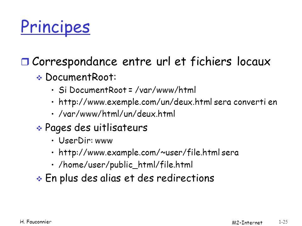 Principes r Correspondance entre url et fichiers locaux DocumentRoot: Si DocumentRoot = /var/www/html http://www.exemple.com/un/deux.html sera convert