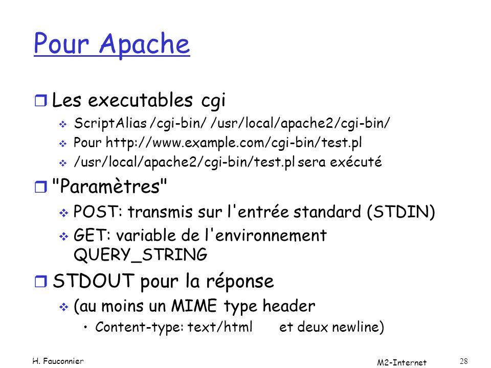 Pour Apache r Les executables cgi ScriptAlias /cgi-bin/ /usr/local/apache2/cgi-bin/ Pour http://www.example.com/cgi-bin/test.pl /usr/local/apache2/cgi