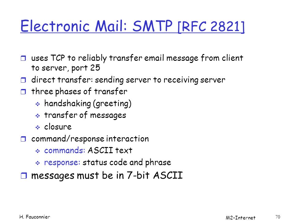 M2-Internet 70 Electronic Mail: SMTP [RFC 2821] r uses TCP to reliably transfer email message from client to server, port 25 r direct transfer: sending server to receiving server r three phases of transfer handshaking (greeting) transfer of messages closure r command/response interaction commands: ASCII text response: status code and phrase r messages must be in 7-bit ASCII H.