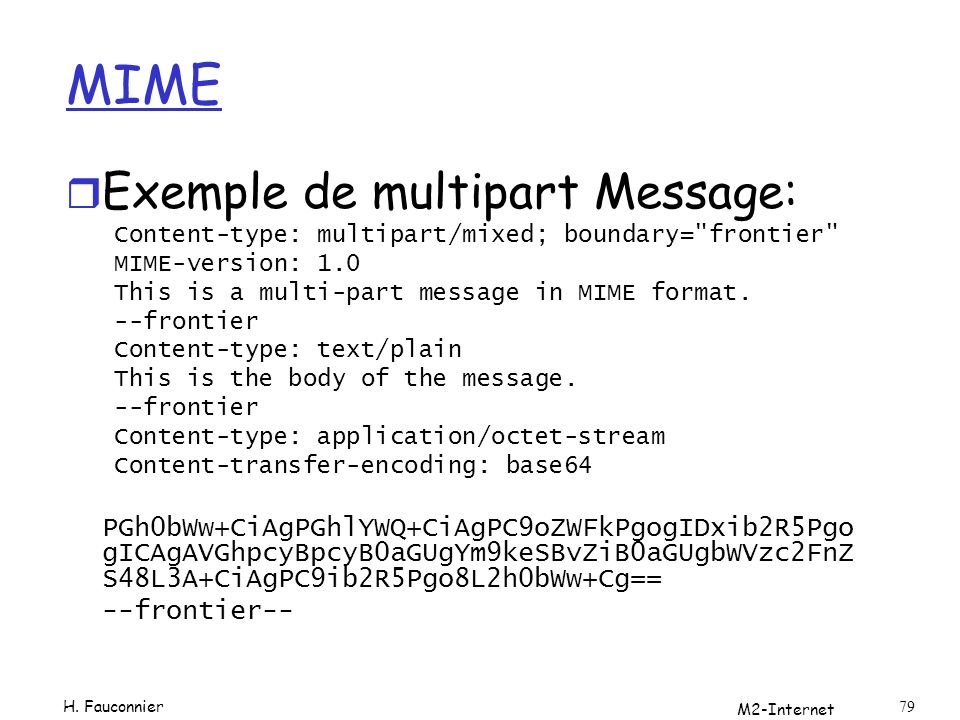 M2-Internet 79 MIME r Exemple de multipart Message: Content-type: multipart/mixed; boundary= frontier MIME-version: 1.0 This is a multi-part message in MIME format.