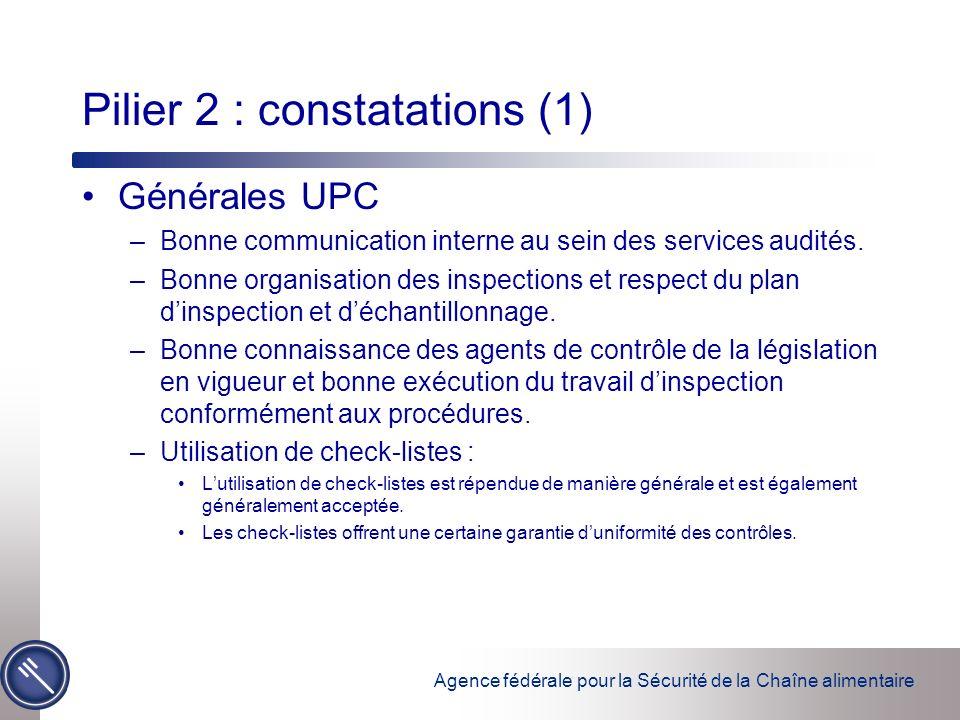 Agence fédérale pour la Sécurité de la Chaîne alimentaire Pilier 2 : constatations (1) Générales UPC –Bonne communication interne au sein des services audités.