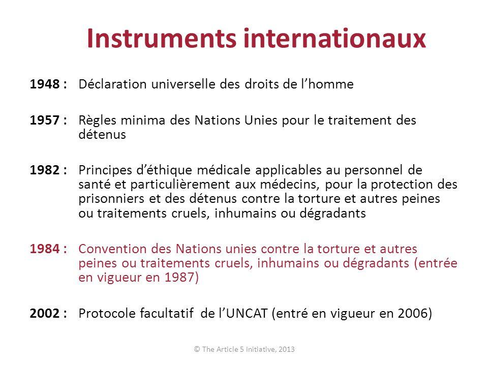 Instruments internationaux 1948 :Déclaration universelle des droits de lhomme 1957 :Règles minima des Nations Unies pour le traitement des détenus 198