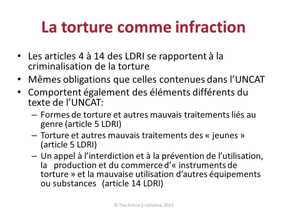La torture comme infraction Les articles 4 à 14 des LDRI se rapportent à la criminalisation de la torture Mêmes obligations que celles contenues dans