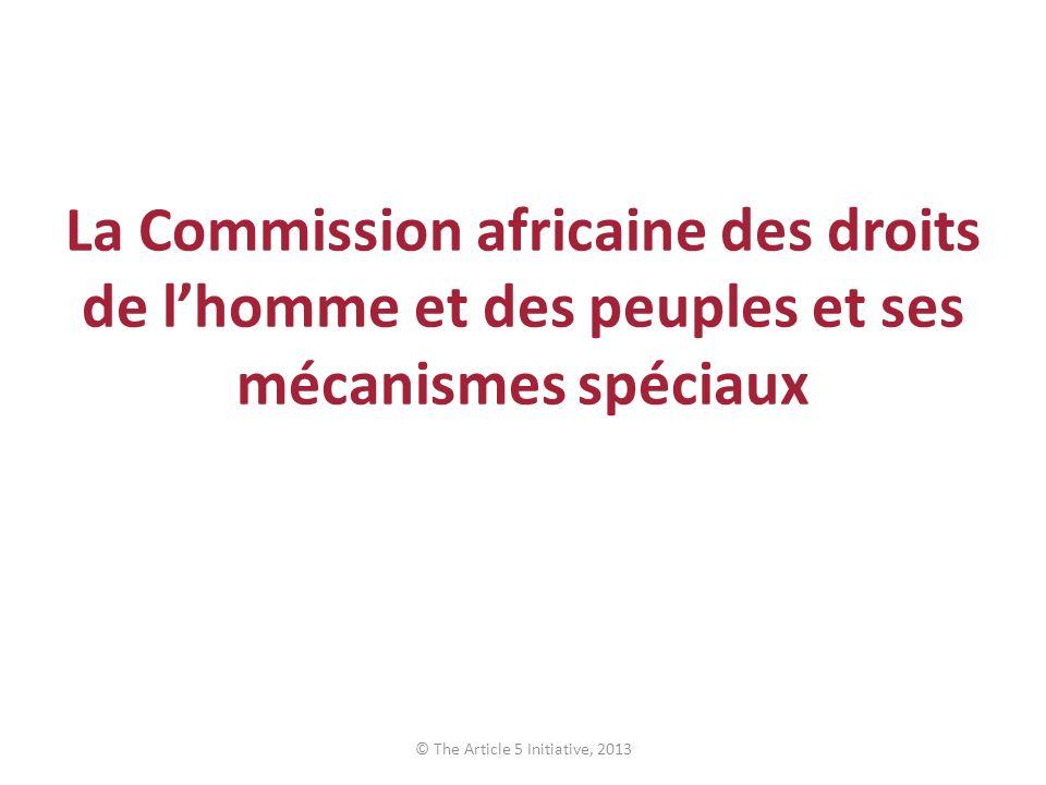 La Commission africaine des droits de lhomme et des peuples et ses mécanismes spéciaux © The Article 5 Initiative, 2013