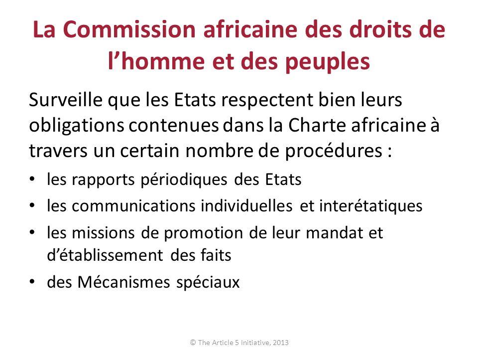 La Commission africaine des droits de lhomme et des peuples Surveille que les Etats respectent bien leurs obligations contenues dans la Charte africai