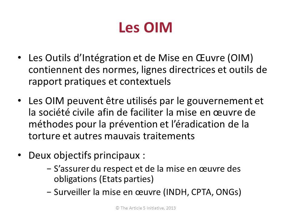 Les OIM Les Outils dIntégration et de Mise en Œuvre (OIM) contiennent des normes, lignes directrices et outils de rapport pratiques et contextuels Les