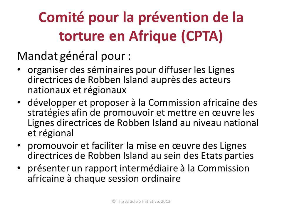 Comité pour la prévention de la torture en Afrique (CPTA) Mandat général pour : organiser des séminaires pour diffuser les Lignes directrices de Robbe