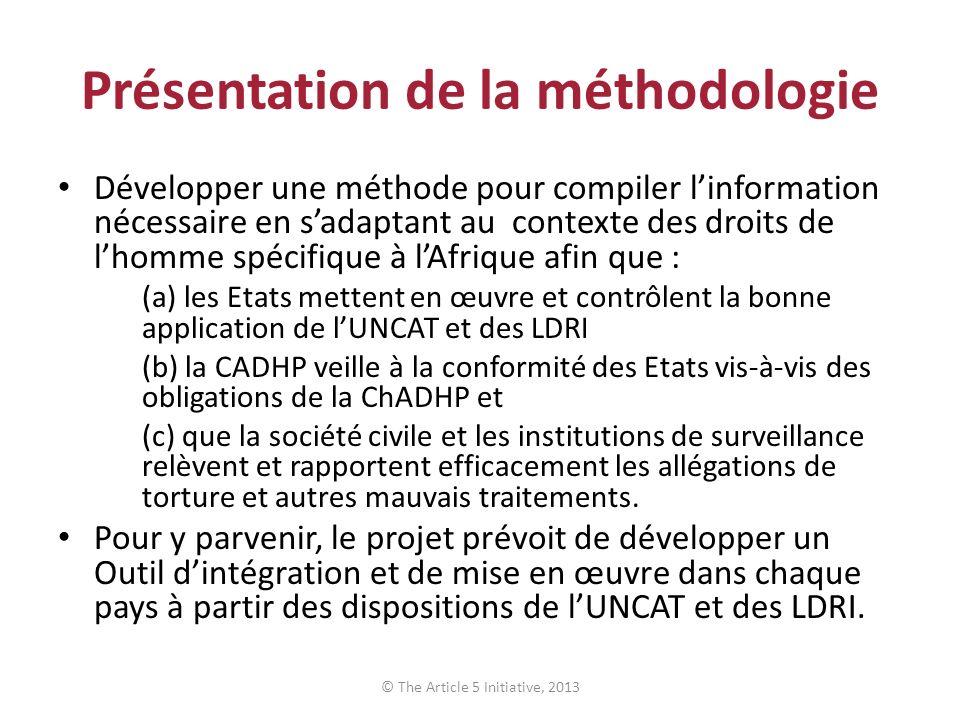 Présentation de la méthodologie Développer une méthode pour compiler linformation nécessaire en sadaptant au contexte des droits de lhomme spécifique