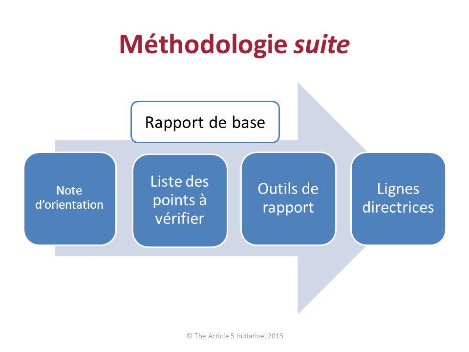 Méthodologie suite Note dorientation Liste des points à vérifier Outils de rapport Lignes directrices © The Article 5 Initiative, 2013 Rapport de base