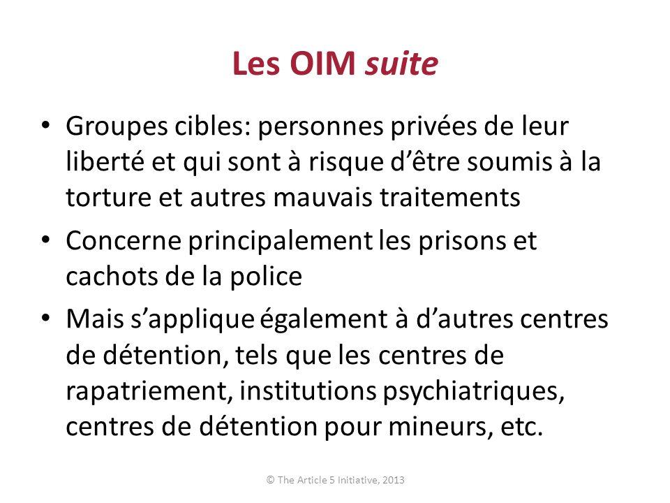 Les OIM suite Groupes cibles: personnes privées de leur liberté et qui sont à risque dêtre soumis à la torture et autres mauvais traitements Concerne