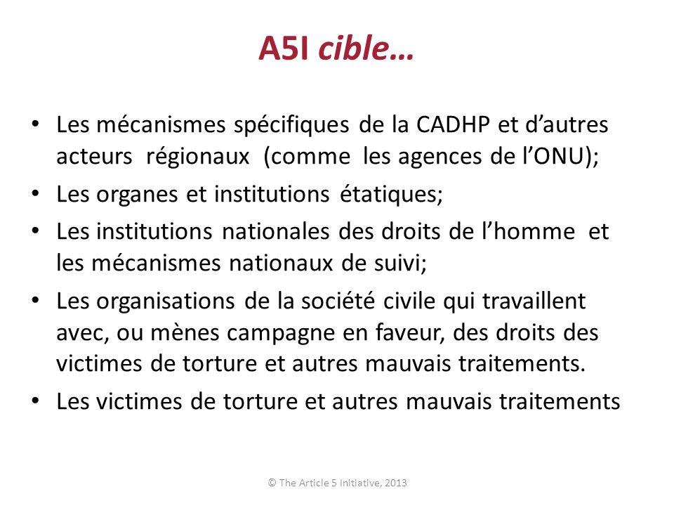 A5I cible… Les mécanismes spécifiques de la CADHP et dautres acteurs régionaux (comme les agences de lONU); Les organes et institutions étatiques; Les