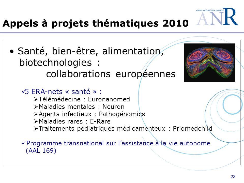 22 Appels à projets thématiques 2010 Santé, bien-être, alimentation, biotechnologies : collaborations européennes 5 ERA-nets « santé » : Télémédecine