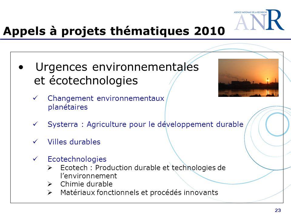 23 Appels à projets thématiques 2010 Urgences environnementales et écotechnologies Changement environnementaux planétaires Systerra : Agriculture pour