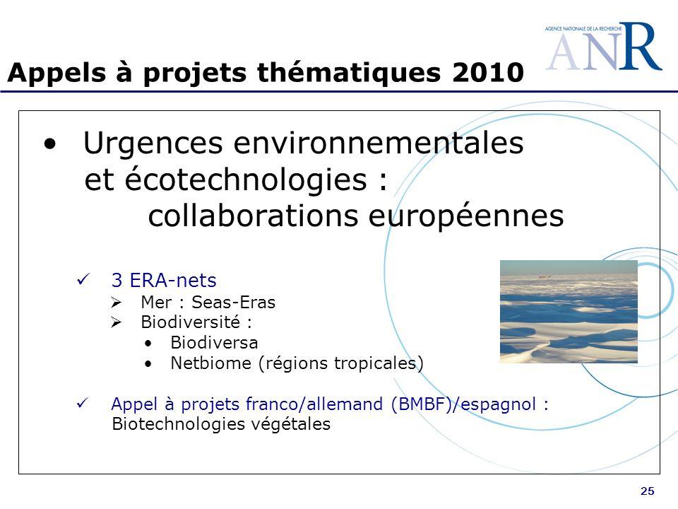 25 Appels à projets thématiques 2010 Urgences environnementales et écotechnologies : collaborations européennes 3 ERA-nets Mer : Seas-Eras Biodiversité : Biodiversa Netbiome (régions tropicales) Appel à projets franco/allemand (BMBF)/espagnol : Biotechnologies végétales
