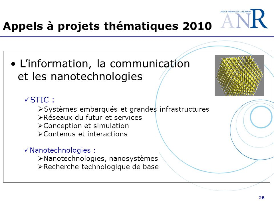 26 Appels à projets thématiques 2010 Linformation, la communication et les nanotechnologies STIC : Systèmes embarqués et grandes infrastructures Résea