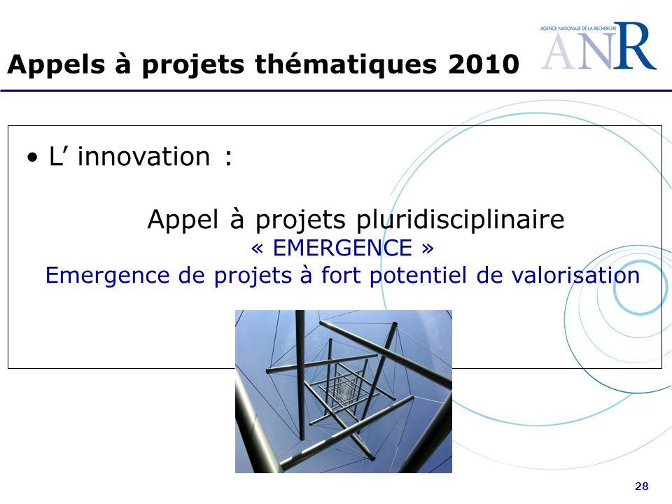 28 Appels à projets thématiques 2010 L innovation : Appel à projets pluridisciplinaire « EMERGENCE » Emergence de projets à fort potentiel de valorisa