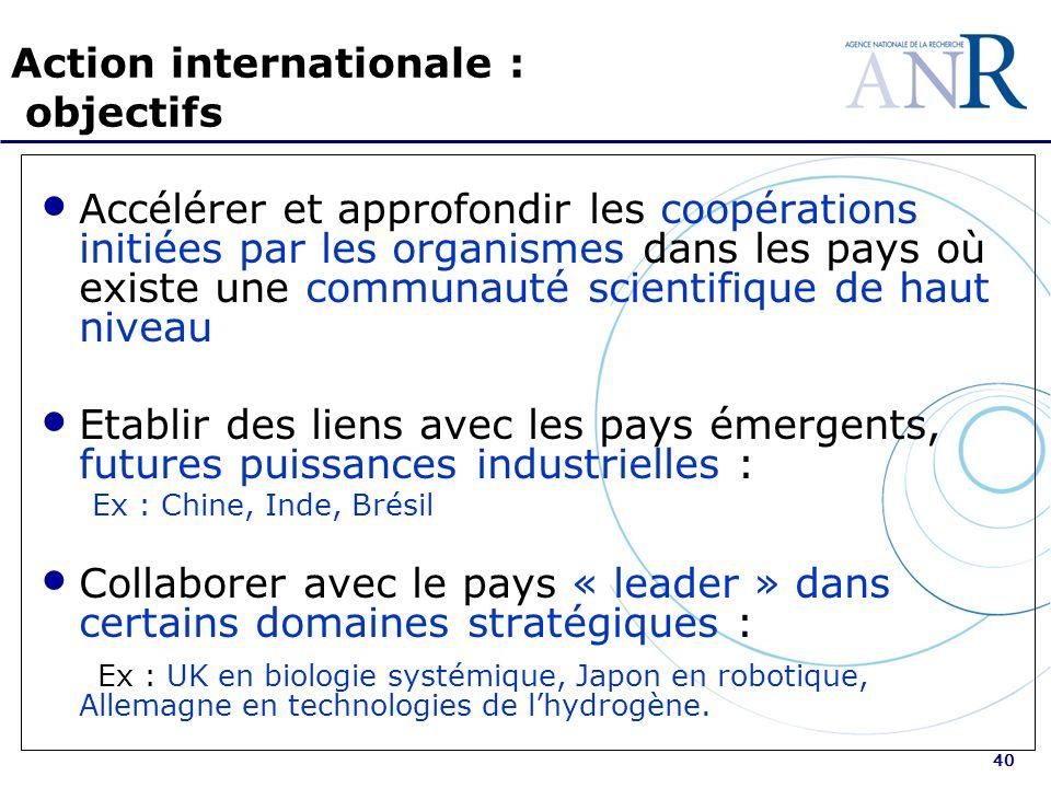 40 Action internationale : objectifs Accélérer et approfondir les coopérations initiées par les organismes dans les pays où existe une communauté scie