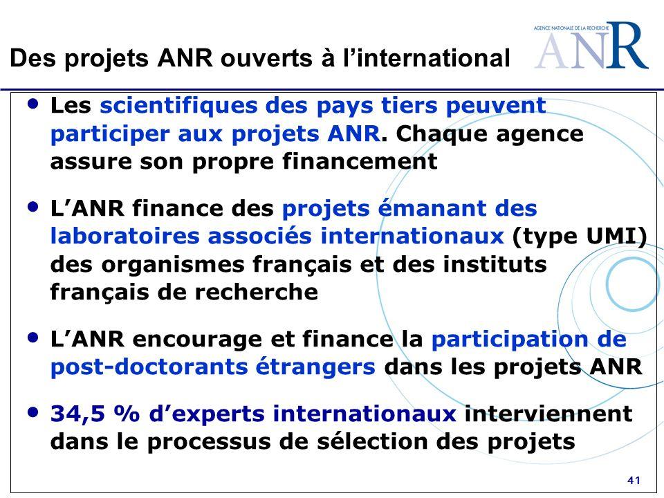 41 Des projets ANR ouverts à linternational Les scientifiques des pays tiers peuvent participer aux projets ANR. Chaque agence assure son propre finan