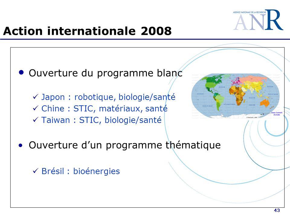 43 Action internationale 2008 Ouverture du programme blanc Japon : robotique, biologie/santé Chine : STIC, matériaux, santé Taiwan : STIC, biologie/santé Ouverture dun programme thématique Brésil : bioénergies
