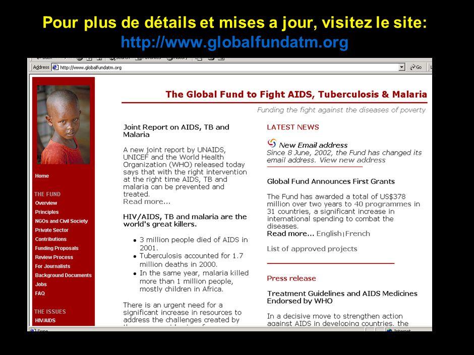 12 Pour plus de détails et mises a jour, visitez le site: http://www.globalfundatm.org