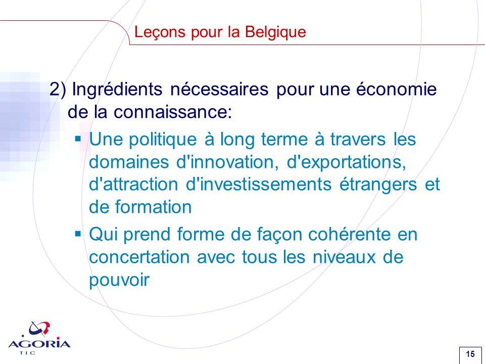 15 Leçons pour la Belgique 2) Ingrédients nécessaires pour une économie de la connaissance: Une politique à long terme à travers les domaines d'innova