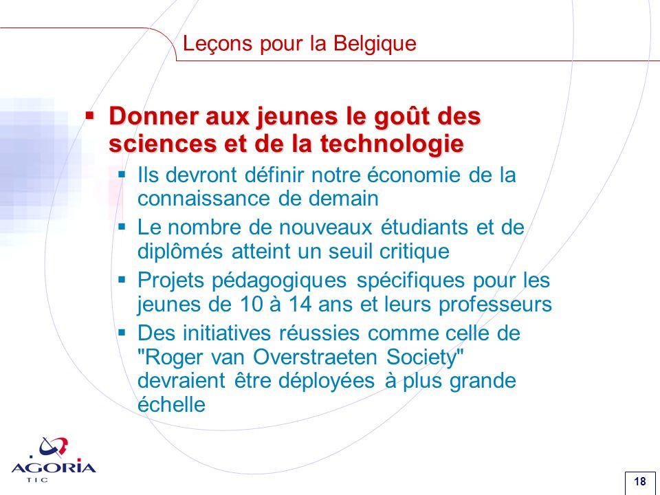 18 Leçons pour la Belgique Donner aux jeunes le goût des sciences et de la technologie Donner aux jeunes le goût des sciences et de la technologie Ils