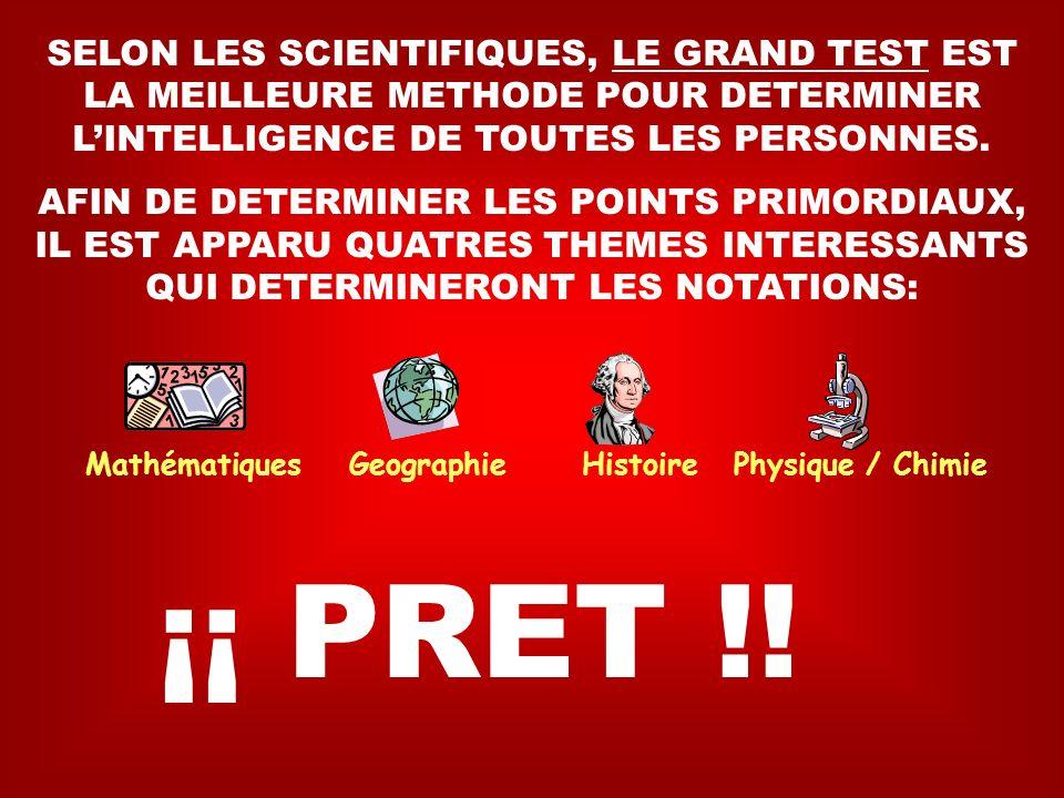 SELON LES SCIENTIFIQUES, LE GRAND TEST EST LA MEILLEURE METHODE POUR DETERMINER LINTELLIGENCE DE TOUTES LES PERSONNES.