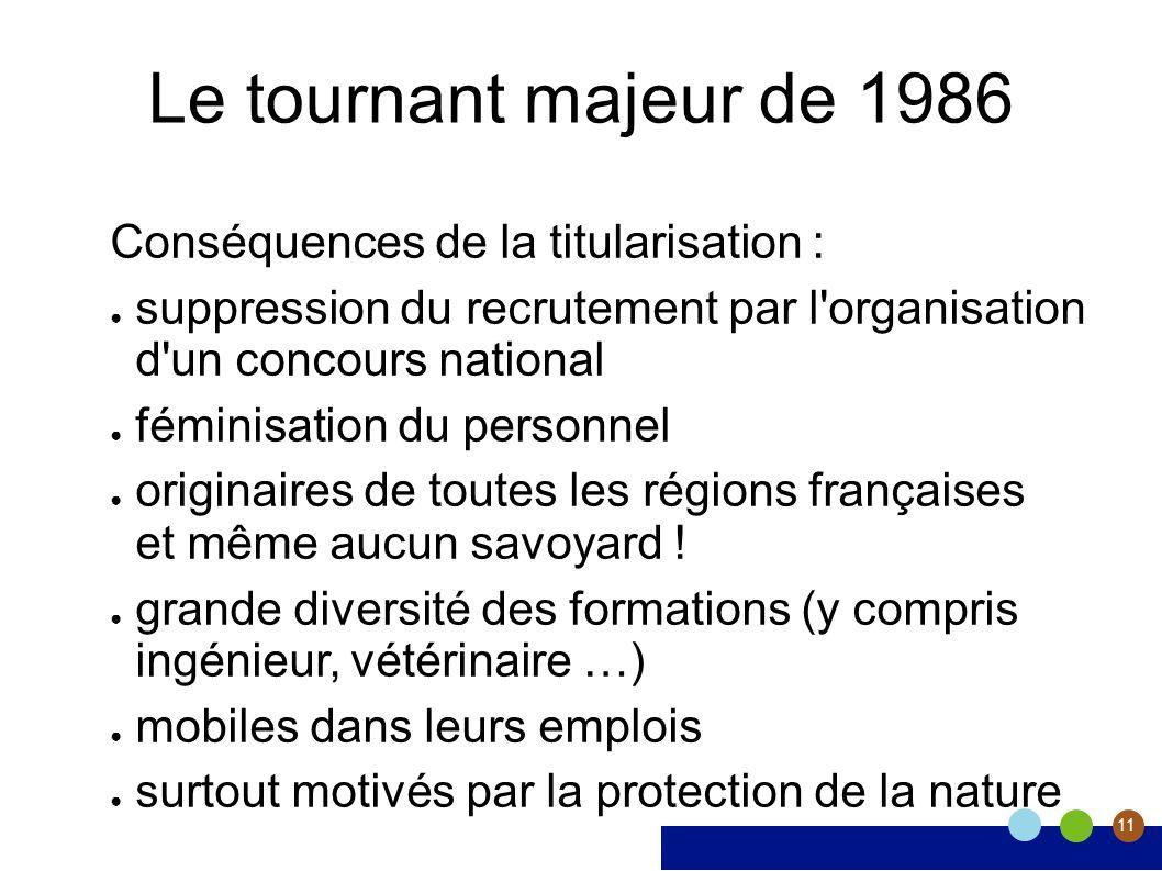 11 Le tournant majeur de 1986 Conséquences de la titularisation : suppression du recrutement par l'organisation d'un concours national féminisation du