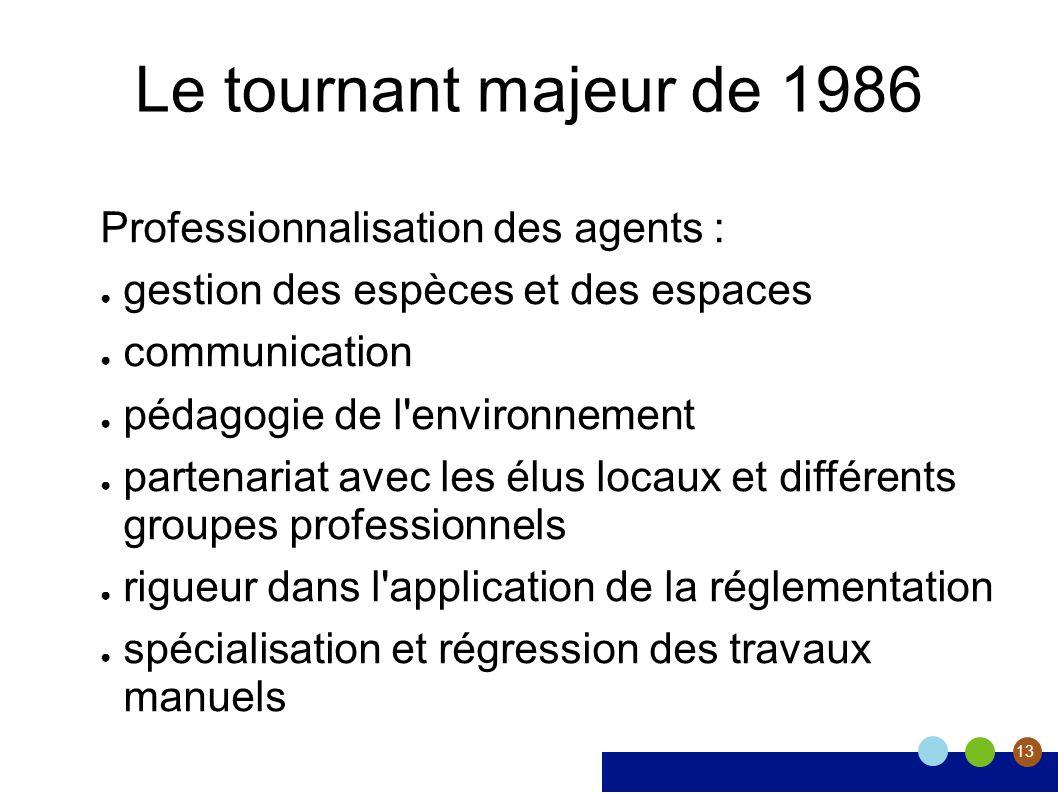 13 Le tournant majeur de 1986 Professionnalisation des agents : gestion des espèces et des espaces communication pédagogie de l'environnement partenar