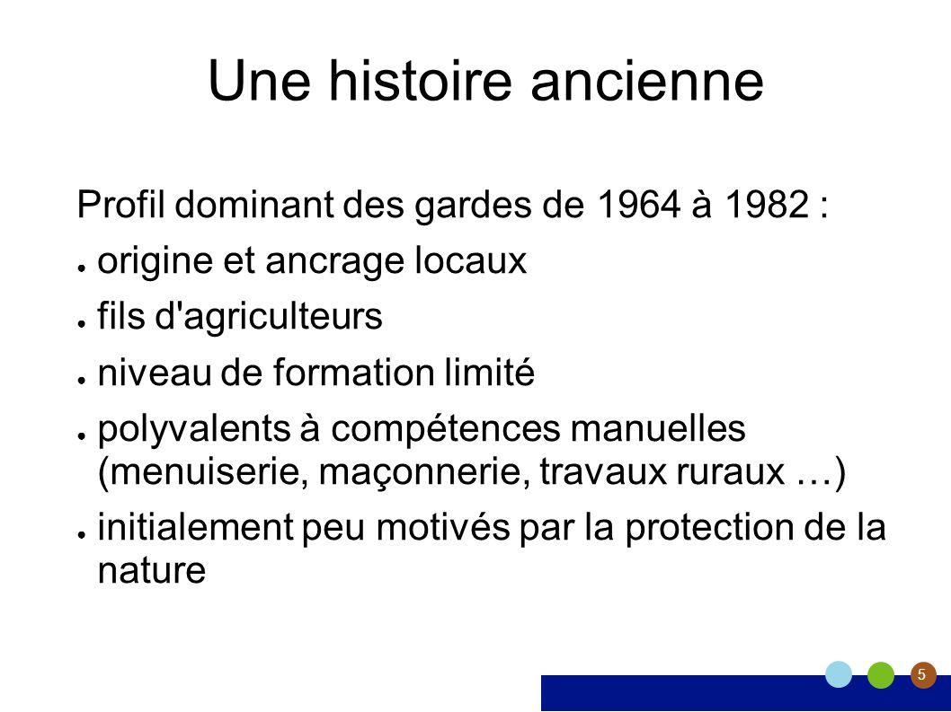 5 Une histoire ancienne Profil dominant des gardes de 1964 à 1982 : origine et ancrage locaux fils d'agriculteurs niveau de formation limité polyvalen
