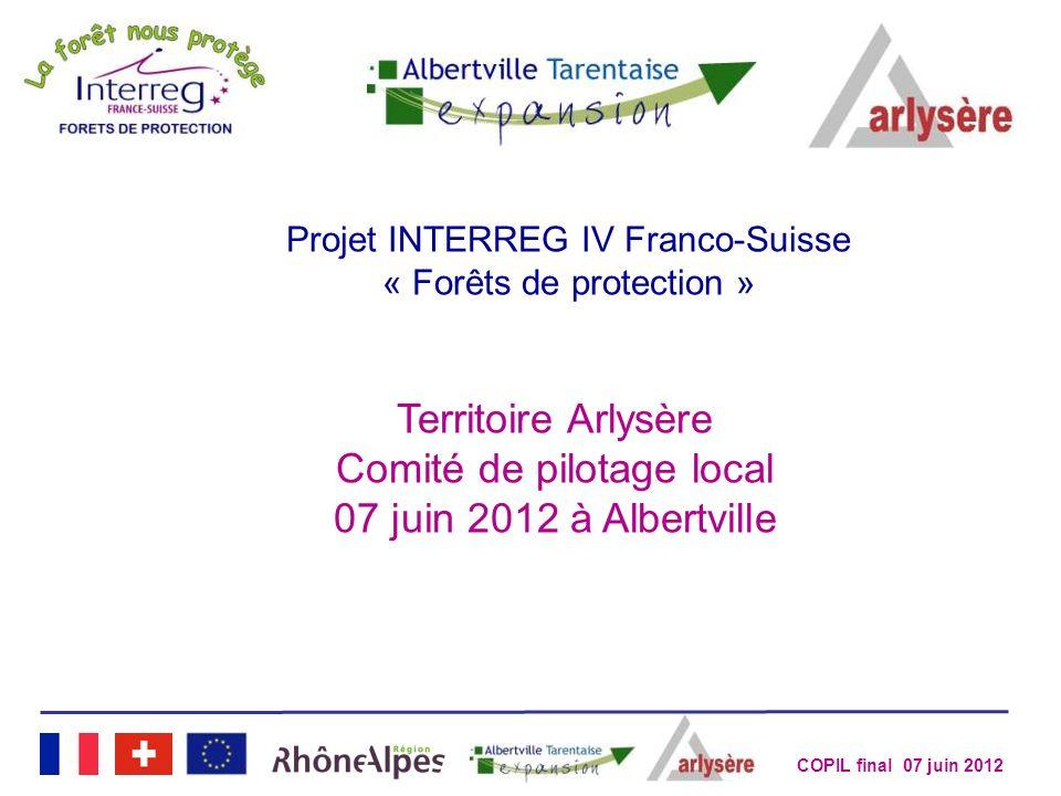 COPIL final 07 juin 2012 Projet INTERREG IV Franco-Suisse « Forêts de protection » Territoire Arlysère Comité de pilotage local 07 juin 2012 à Albertv