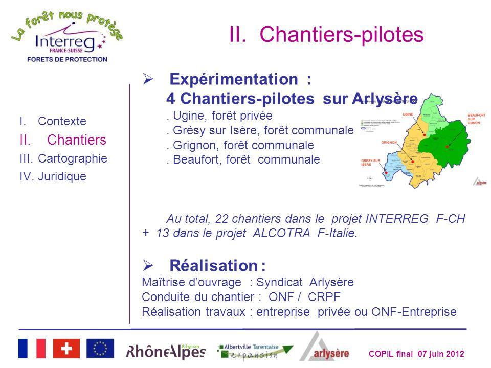 COPIL final 07 juin 2012 II.Chantiers-pilotes Expérimentation : 4 Chantiers-pilotes sur Arlysère. Ugine, forêt privée. Grésy sur Isère, forêt communal
