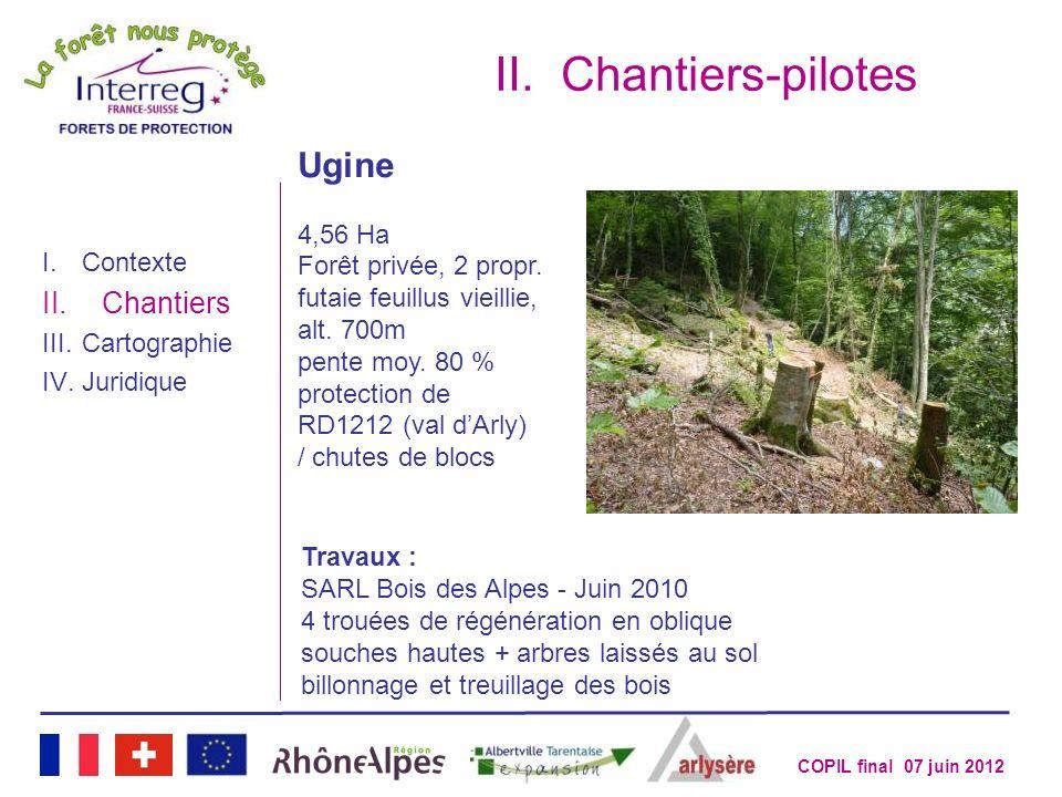 COPIL final 07 juin 2012 II.Chantiers-pilotes I.Contexte II.Chantiers III.Cartographie IV.Juridique Ugine 4,56 Ha Forêt privée, 2 propr. futaie feuill