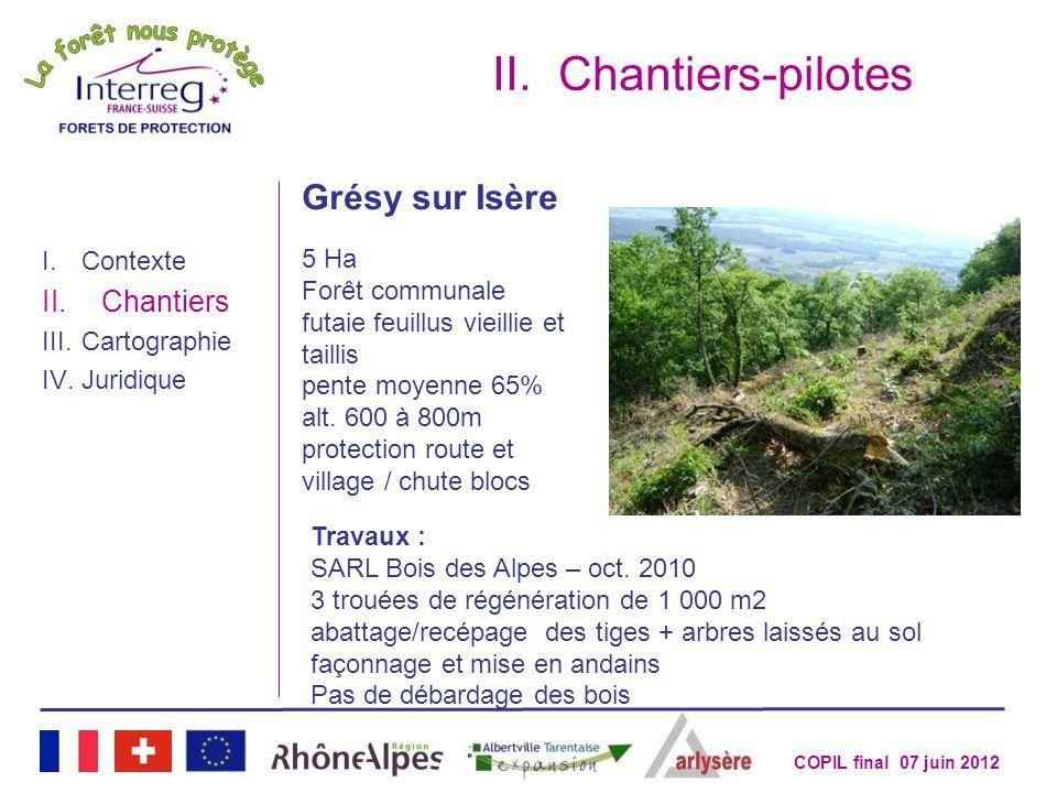 COPIL final 07 juin 2012 II.Chantiers-pilotes I.Contexte II.Chantiers III.Cartographie IV.Juridique Grésy sur Isère 5 Ha Forêt communale futaie feuill