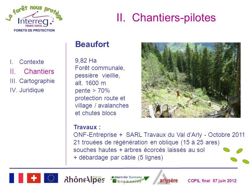 COPIL final 07 juin 2012 II.Chantiers-pilotes I.Contexte II.Chantiers III.Cartographie IV.Juridique Beaufort 9,82 Ha Forêt communale, pessière vieilli