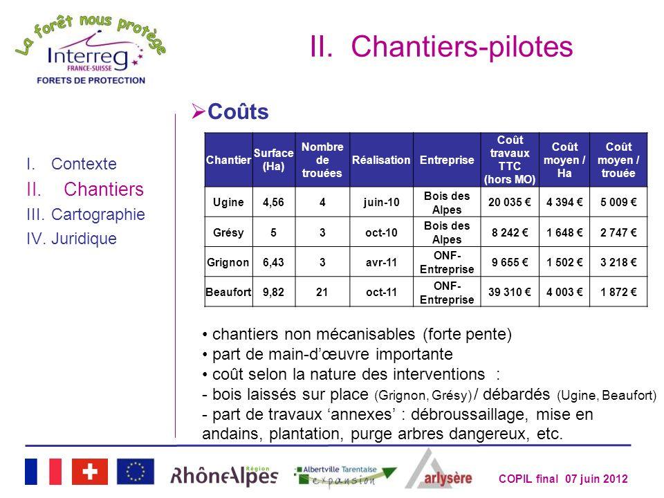 COPIL final 07 juin 2012 II.Chantiers-pilotes I.Contexte II.Chantiers III.Cartographie IV.Juridique Chantier Surface (Ha) Nombre de trouées Réalisatio