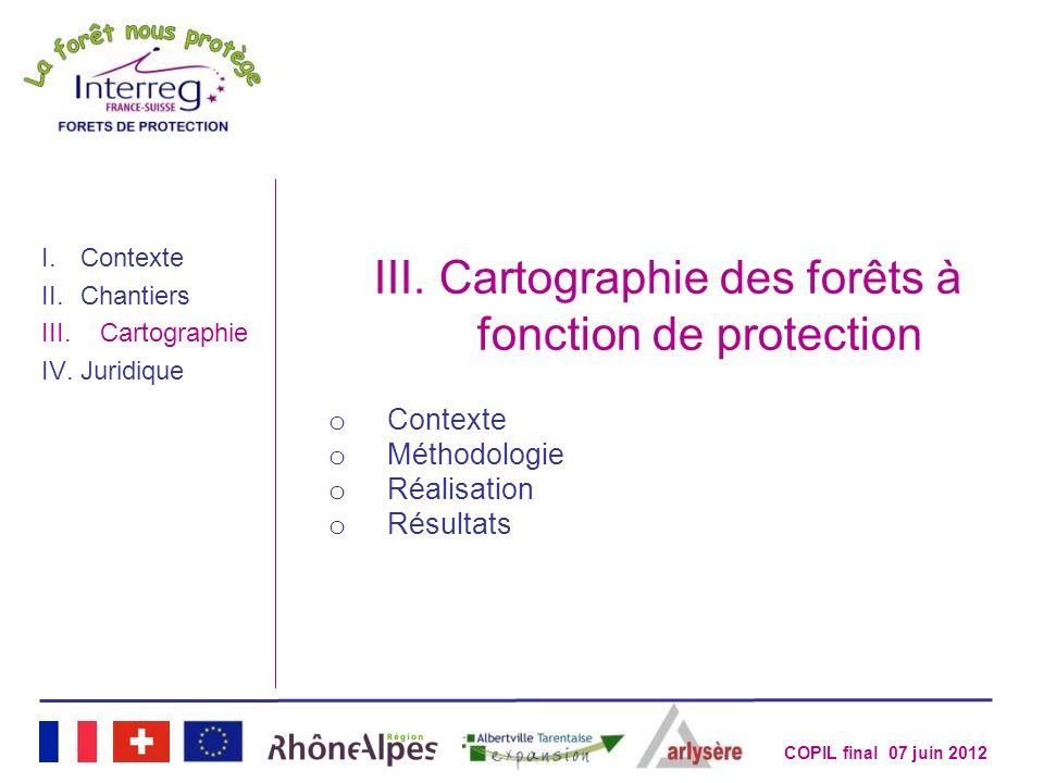 COPIL final 07 juin 2012 III.Cartographie des forêts à fonction de protection o Contexte o Méthodologie o Réalisation o Résultats I.Contexte II.Chanti