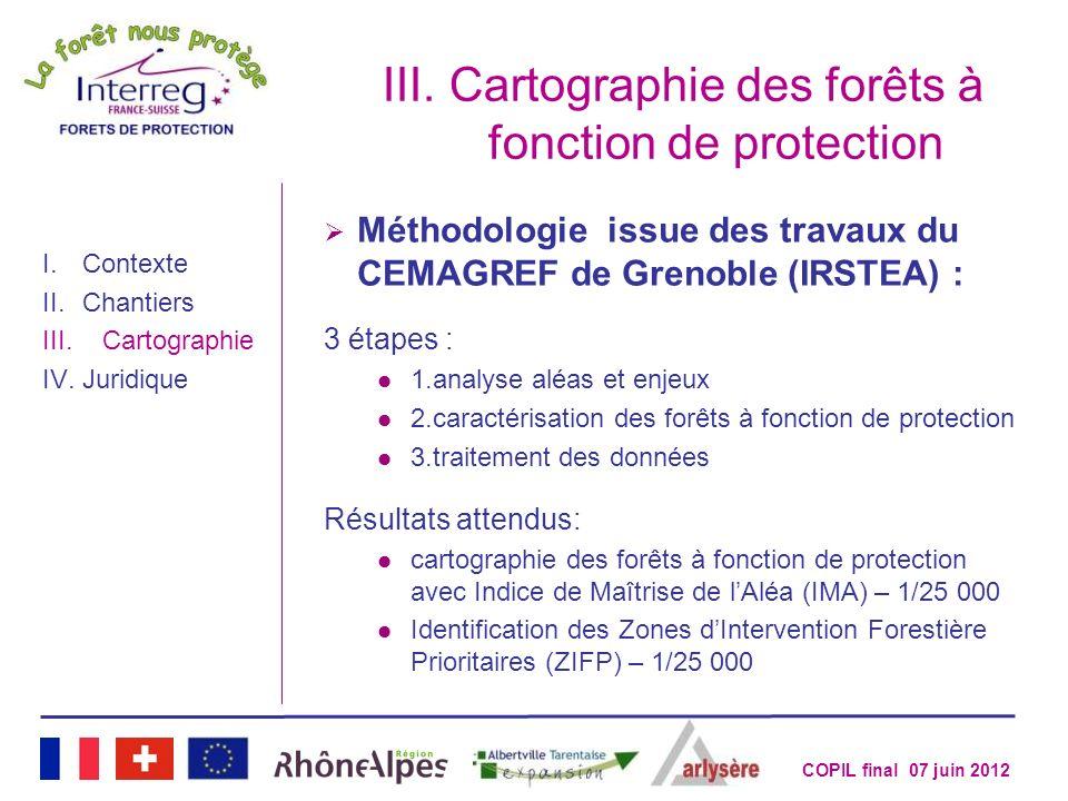 COPIL final 07 juin 2012 III.Cartographie des forêts à fonction de protection I.Contexte II.Chantiers III.Cartographie IV.Juridique Méthodologie issue