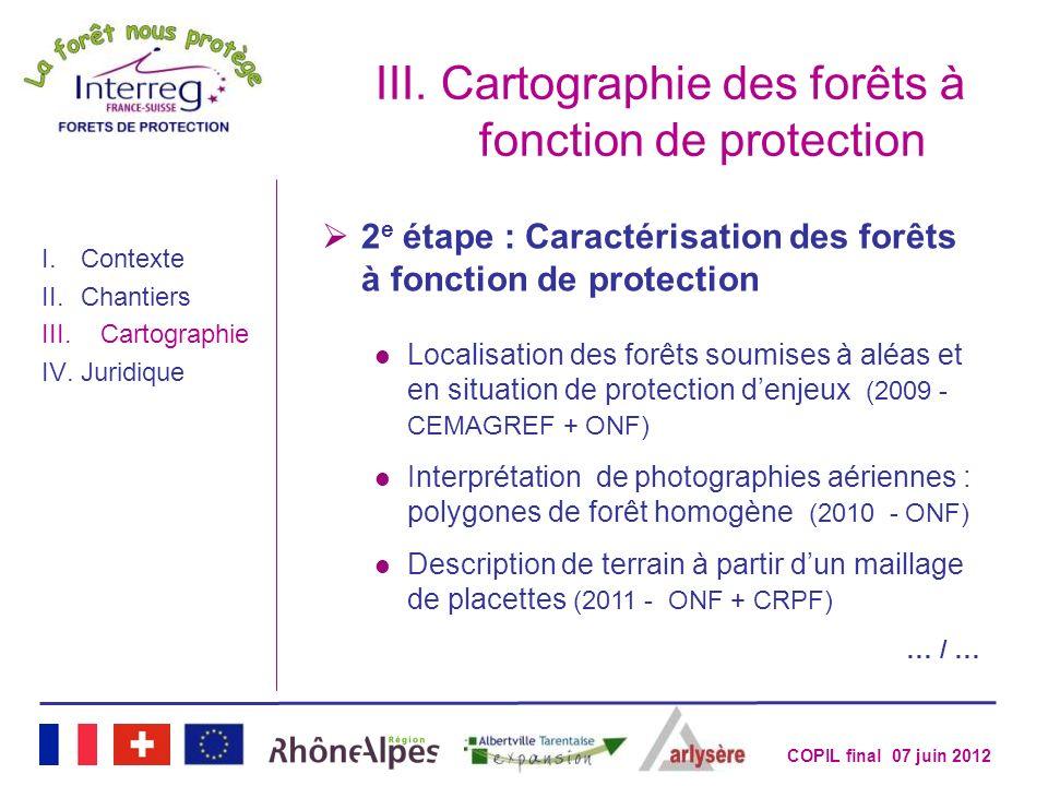 COPIL final 07 juin 2012 III.Cartographie des forêts à fonction de protection I.Contexte II.Chantiers III.Cartographie IV.Juridique 2 e étape : Caract